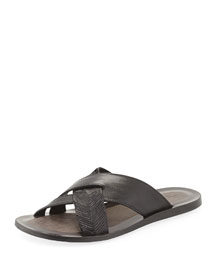 Artisan Crisscross Leather Sandal, Black