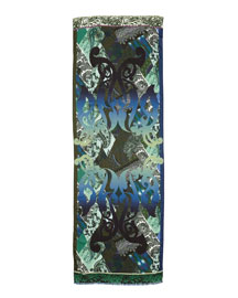 Swirl-Print Voile Scarf, Blue/Green