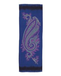 Large Paisley Printed Scarf, Blue/Pink