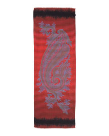 Check Paisley Men's Scarf, Red/Blue