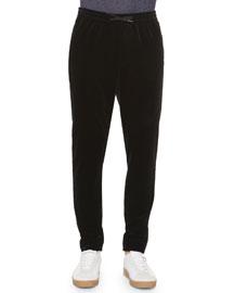 Velvet Drawstring Jogger Pants, Black