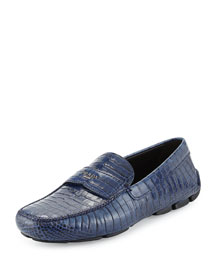 Faux Croc Loafer, Navy