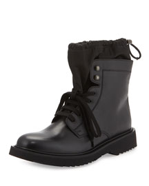 Leather Sock Boot w/ Toggle, Black