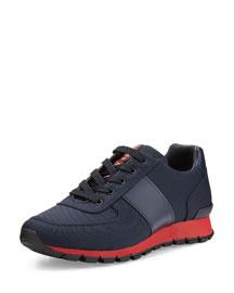 Leather & Nylon Running Sneaker, Blue/Gray