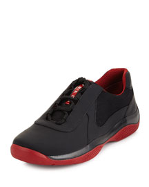Punta Ala Leather Sneaker, Black/Red