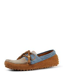 Tricolor Suede Lace-Up Driver, Multi