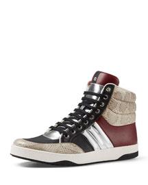 Snakeskin & Leather Padded High-Top Sneaker, Multi