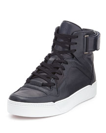 Nylon Guccissima Leather High-Top Sneaker, Navy