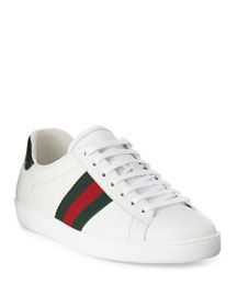 Leather Sneaker with Web Detail, White/Red/Green