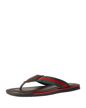 Leather Thong Sandal, Brown