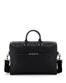 Leather Briefcase with Front Pocket, Black
