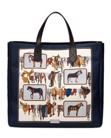 Large Horse Frame-Print Tote Bag, White/Brown