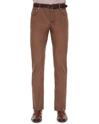Washed Twill Five-Pocket Pants, Light Brown