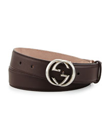 Leather GG Buckle Belt, Brown