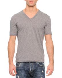 Basic V-Neck T-Shirt, Gray