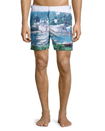 Bulldog Graphic-Print Swim Trunks, Multi