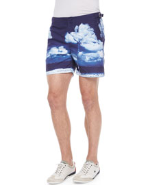 Bulldog Hulton Getty Print Swim Trunks, Navy
