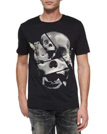 Skull-Print Graphic Tee, Black