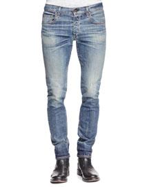 Slim-Fit Distressed Denim Jeans, Indigo
