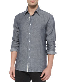 Beach-Striped Long-Sleeve Sport Shirt, Black