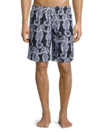 Okoa Seahorse-Print Swim Trunks, Black/White