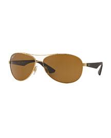 Wire-Frame Metal Sunglasses, Matte Gold