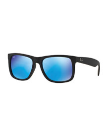 Flat-Top Plastic Sunglasses with Mirror Lenses, Blue/Green