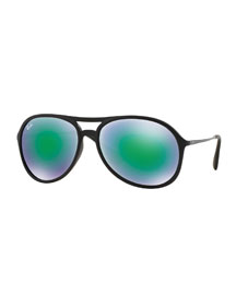 Plastic Aviator Sunglasses with Mirror Lenses, Green