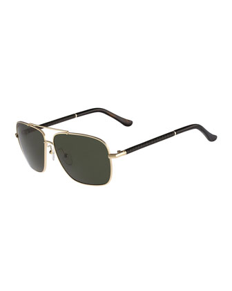 Navigator Metal Sunglasses, Gold