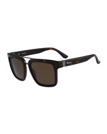 Gancio Plastic Sunglasses, Brown