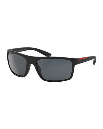 Rectangular Plastic Sunglasses, Black