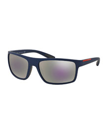 Rectangular Plastic Sunglasses, Blue