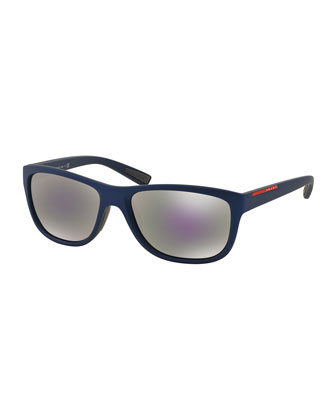 Matte Rectangular Plastic Sunglasses, Blue