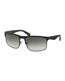 Wire-Frame Rectangular Sunglasses, Matte Black