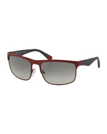 Wire-Frame Rectangular Sunglasses, Matte Red