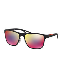 Rectangular Plastic Sunglasses, Blue