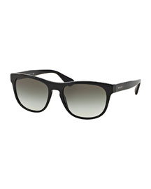 Rectangular Acetate Sunglasses, Black