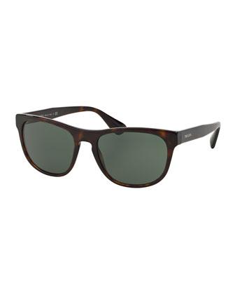 Rectangular Acetate Sunglasses, Havana