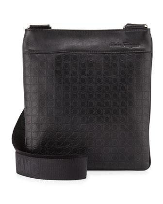 Leather Crossbody Bag, Deep Black