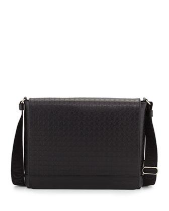Gancini-Embossed Leather Messenger Bag, Black