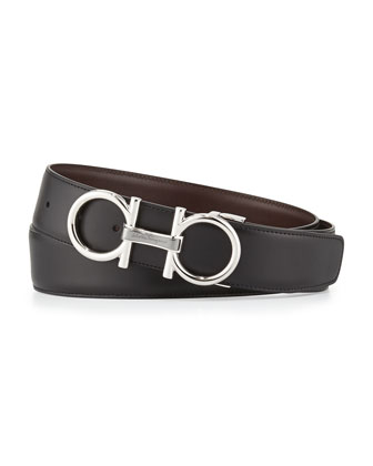 Reversible Leather Belt, Black/Chocolate