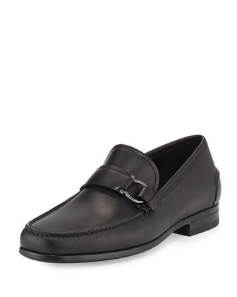 Ponza Calfskin Side Gancio Loafer, Black