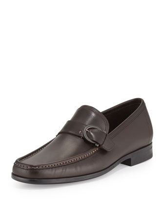 Navarro Smooth Calfskin Side Gancio Loafer, Brown