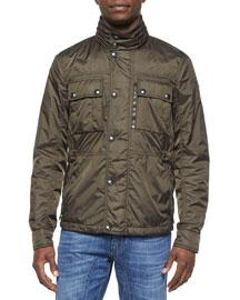 Chepstow Nylon Button-Front Jacket, Green