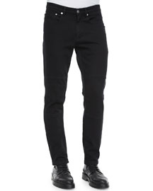 Eastham Coated Slim-Fit Moto Jeans, Blue