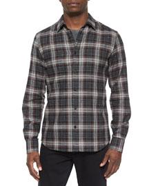 Woodham Long-Sleeve Flannel Shirt, Gray