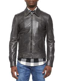 Heritage Ryder Faded Leather Jacket, Black