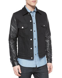Stockfield Leather-Sleeve Denim Jacket, Black