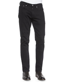Harpton Raw-Stretch Moto Jeans, Black