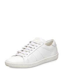 Men's Leather Low-Top Sneaker, White